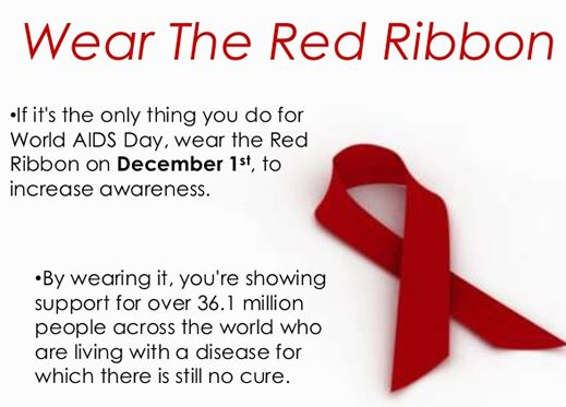 wear an aids ribbon for World AIDS Day December 1