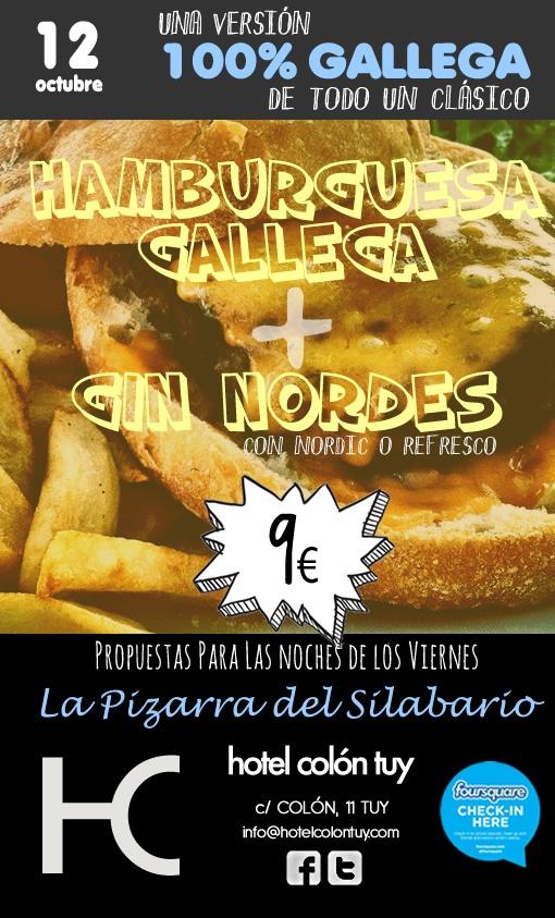 Viernes noche en #lapizarradelsilabario: Burguer y Gin Nordés,100% gallegos. @silabariotui