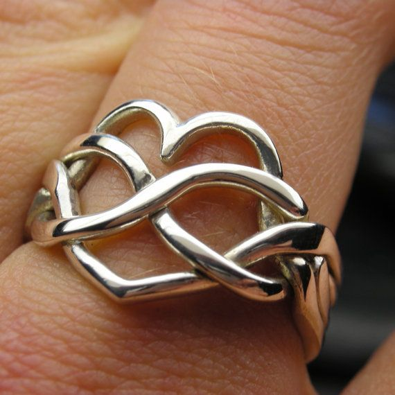 Sterling silver heart infinity puzzle ring by  Nellyvansee, Canada - on Etsy