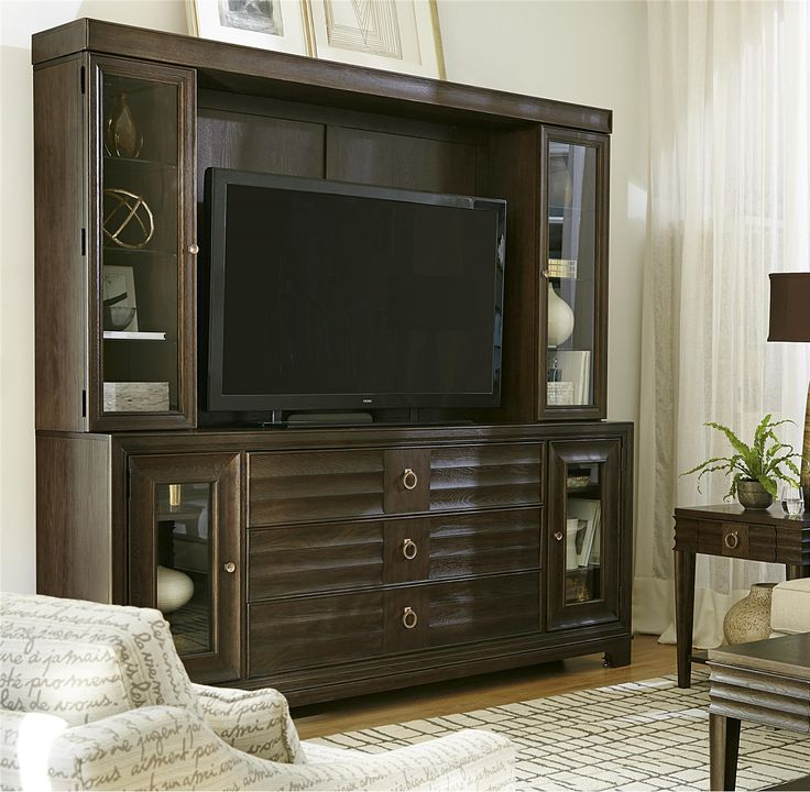 California Rustic Oak TV Entertainment Wall Unit Part 97