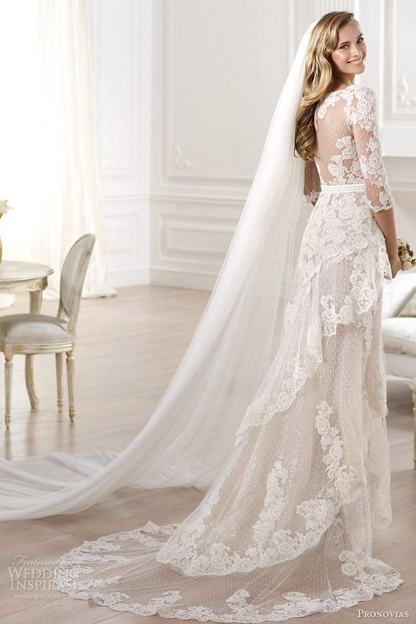 pronovias 2014 atelier bridal collection yaela lace wedding dress back