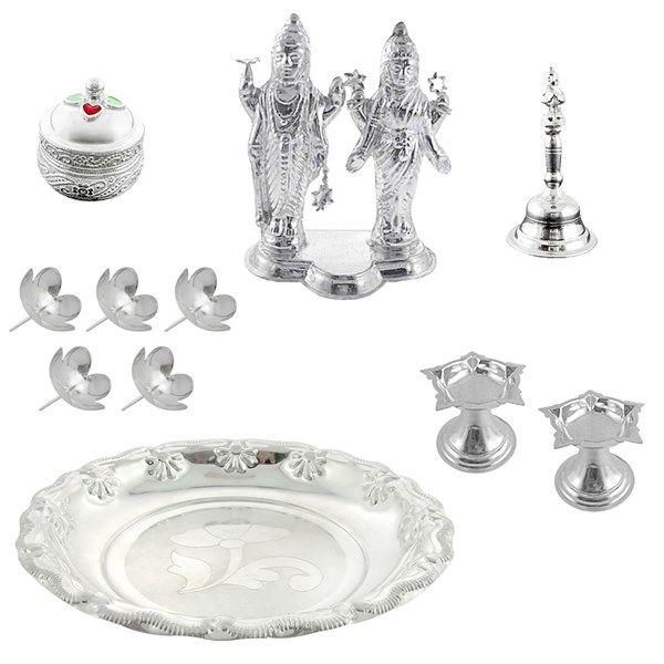 Jpearls Special Pooja Hamper | Pure Silver Lakshmi Narayan Idol, Silver Bell, Kumkum Dabi, Diyas, Silver Plate, Silver Flowers