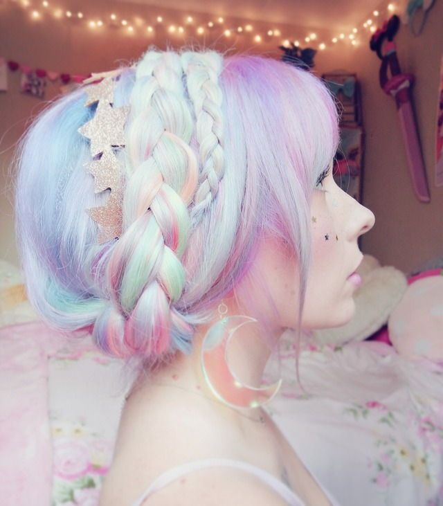 Pastel rainbow hair. Identical to when I had rainbow pastel hair