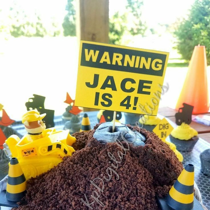 Construction birthday cake topper, construction party cake topper, construction party, construction birthday, rubble cake topper, paw patrol rubble cake topper, paw patrol cake topper, warning sign cake topper, street sign cake topper