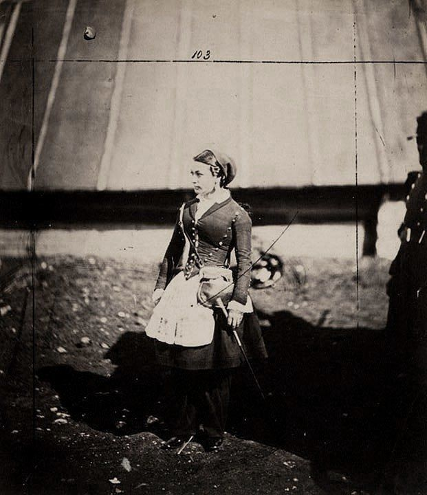 French cantinière (Vivandière or Cantinière is a French name for women attached to military regiments as sutlers or canteen keepers) wearing Zouave regiment dress.
