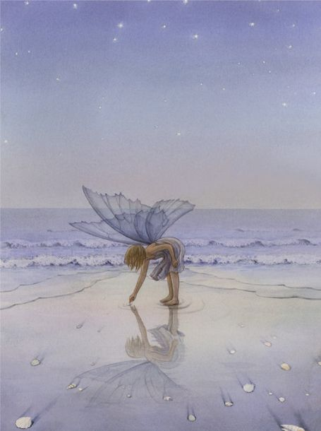 Asako Eguchi (1952, Japanese): At The Beaches, Sea Shells, Asako Eguchi, Beaches Fairies, The Ocean, Seashells, Fairies Art, Sea Glasses, Pixie