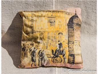 Kudde kuddfodral, atelje-sydd, höst-färger 41 x 41 cm, bomull o crinkled taft