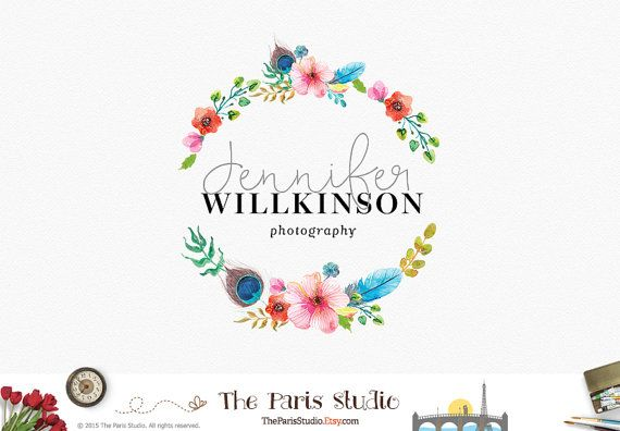 Custom Logo Design Photography Logo Watercolor Floral Logo Wreath Logo Pay As You Go Logo Website Business Branding Beauty Spa Boutique Logo