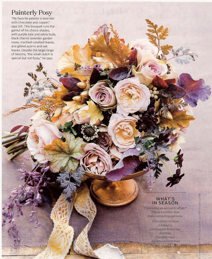 Purple Kale, salvia buds, black chervil, lavender garden roses, marbled coralbell leaves, gilded acorns & oak leaves (Color scheme: Lavender, purple, gold/copper, chocolate, peach, and plum)