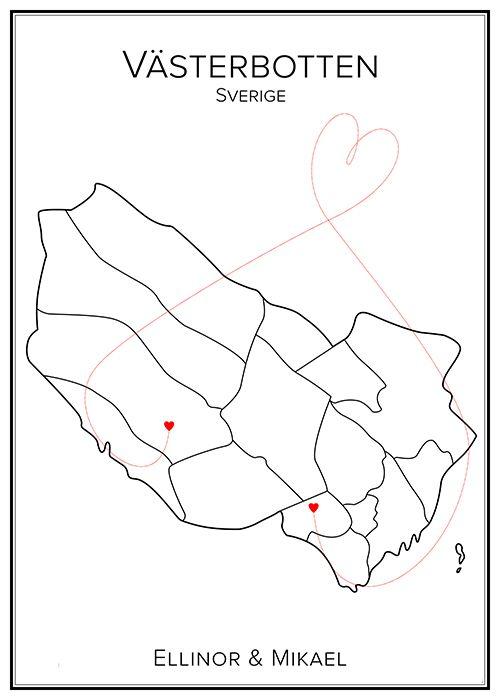 Kärlekskarta. Västerbotten. Sverige. Map. City print. Print. Affisch. Tavla. Tryck. Stadskarta.