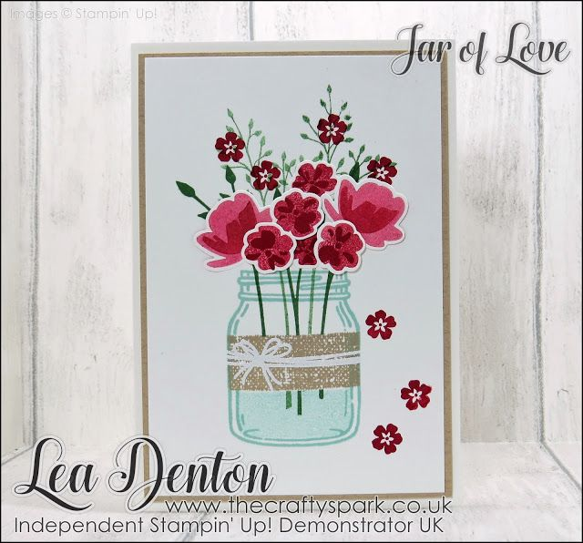 Spring Time Jar of Love Card #leadenton #stampinupuk #thecraftyspark die cutting heat embossing jar of love share stamping off technique