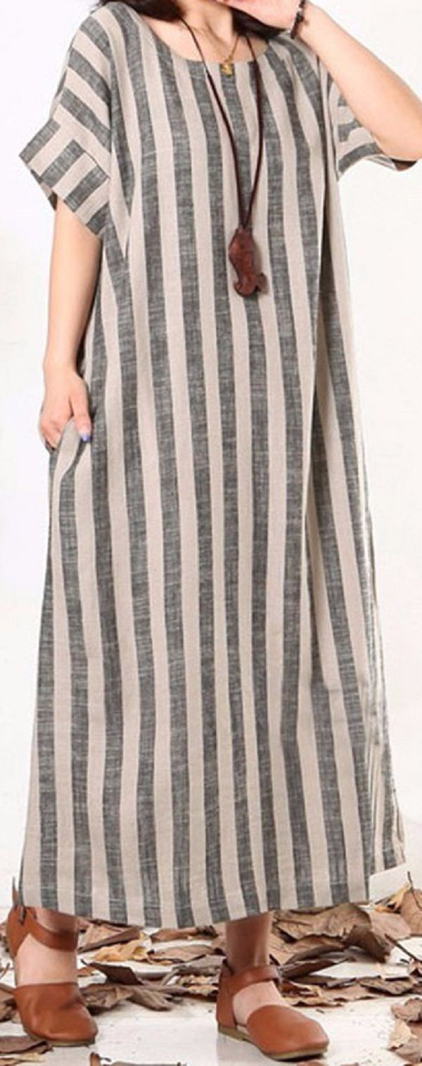 US$ 23.12 Casual O-neck Short Sleeves Striped Dresses For Women