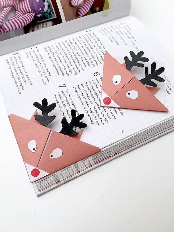 Adorable Reindeer Bookmarks. These are so so cute and simple to make. They nestle perfectly into your book, so don't bend or break: