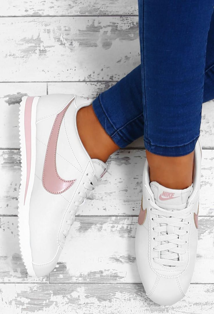 Nike Classic Cortez White and Pink Leather Trainers | Pink Boutique