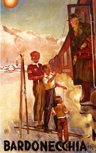 vintage ski poster - Bardonecchia/Turin Italia
