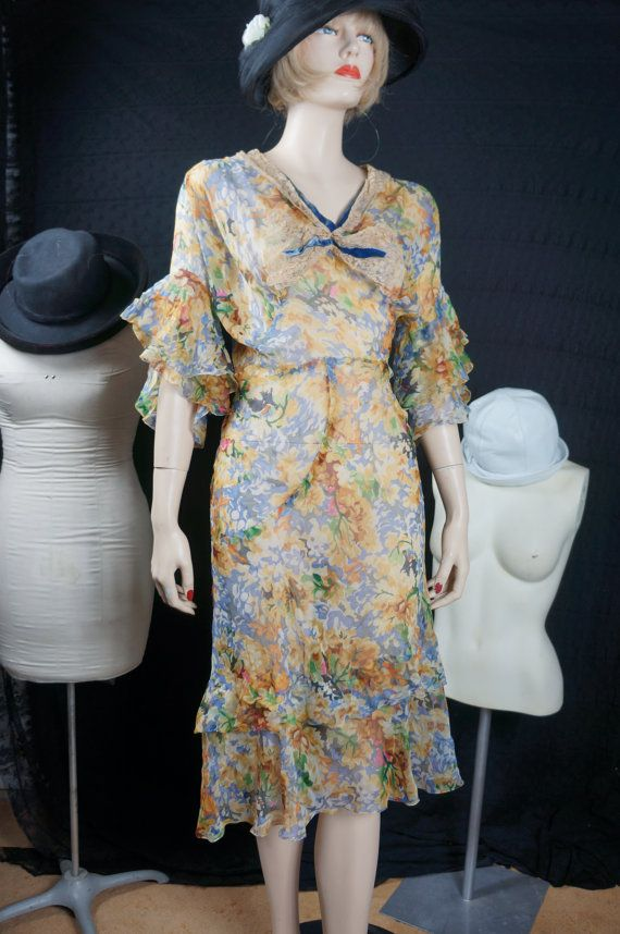 20's Sheer Silk Chiffon Floral Day Dress by HippieGypsyBoutique
