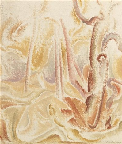 """Tree Forms,"" Lionel Lemoine Fitzgerald, oil on canvas, 10 x 8.5"", Loch Gallery."