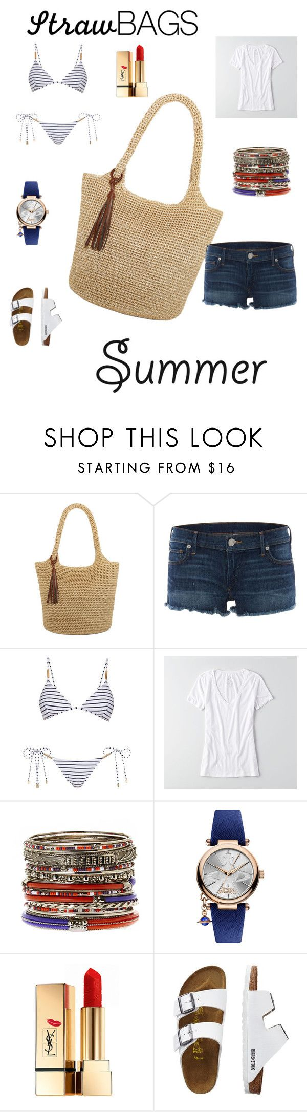 """""""The Wizard of Straw"""" by summer-moore-i ❤ liked on Polyvore featuring Straw Studios, True Religion, Melissa Odabash, American Eagle Outfitters, Amrita Singh, Vivienne Westwood, Yves Saint Laurent, TravelSmith and strawbags"""