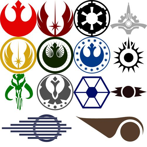 A few Star Wars symbols    Row 1: Alliance For The Republic(Rebel Alliance), Jedi Order, Galactic Empire, Galactic Senate  Row 2: Jedi order with ring, New Jedi Order, New Republic Department of Research and Development, Black Sun  Row 3: Mandalorians, Galactic Federation of Free Alliances, Confederacy of Independent Systems, Sith Empire  Row 4: Two X-Wing Pilot helmet markings