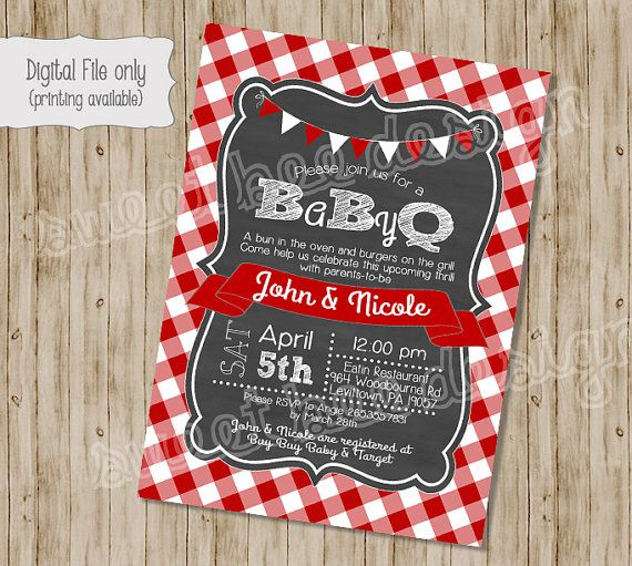 BABY Q Shower Invitation, BBQ Joint Baby Shower, Barbeque Baby Shower, DIY, Chalkboarrd, Retro, Typography - Digital Print File