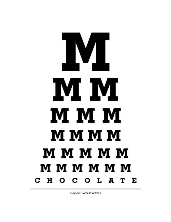 Mmmmmmm Chocolate - Eye Chart on Etsy