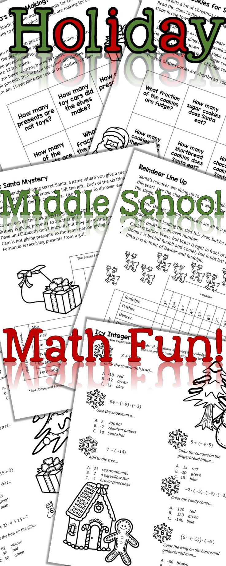 Christmas math puzzles | No prep | Middle school math | Holiday math activities