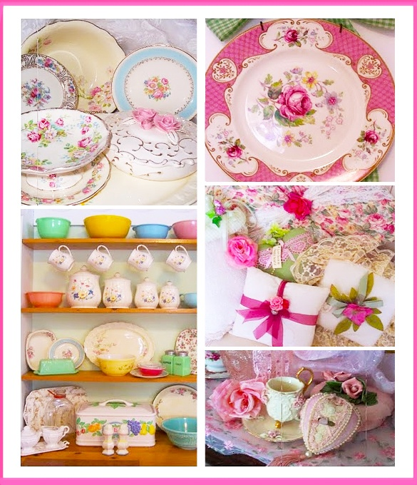 Working for Carrots: Decorating with Vintage Handmade Rose Cups Pillows China Floral Scenes