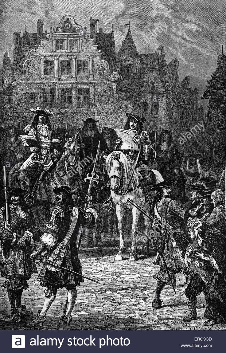 Revocation of the Edict of Nantes, October 1685. Louis XIV renounced the edict and declared Protestantism illegal Then the Huguenots fled were killed or imprisoned etc