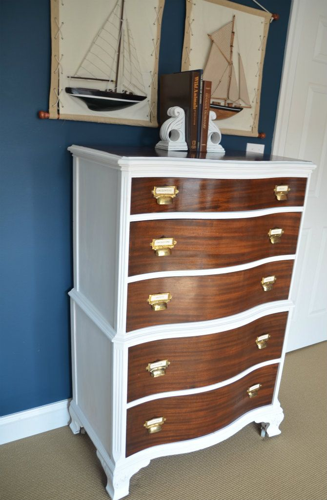 Two Toned Dresser With Card Catalog Pulls Discount Bedroom
