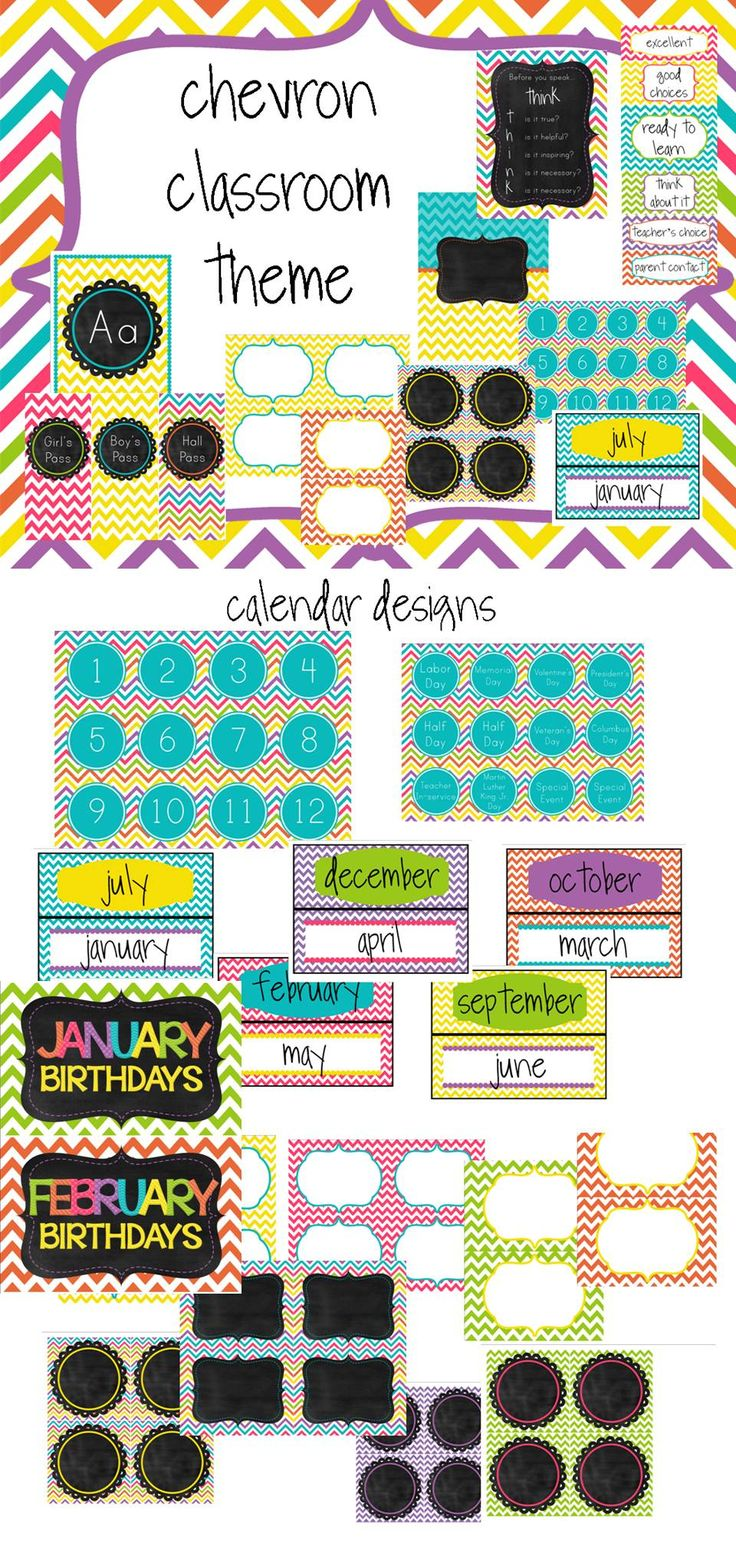 Everything you need to set up your classroom with a stylish chevron theme. $