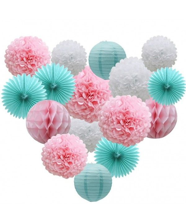 Teal Party Supplies For Bridal Baby Shower First Birthday Party Wedding Decorations 16pcs Paper Honeycomb Ball Pom Poms Flowers Paper Lanterns Hanging Tissue Paper Flowers Honeycomb Paper Teal Party