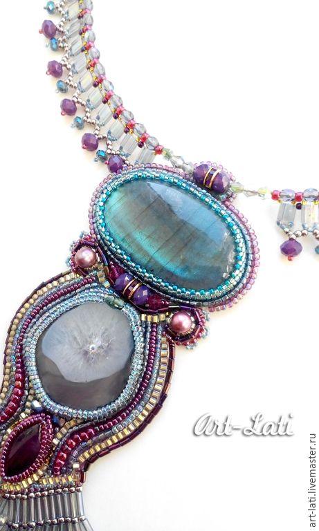 """Купить Колье-кулон """"Amethyst blossom"""" - разноцветный, серебристый цвет, джинс, фиолетовый цвет"""