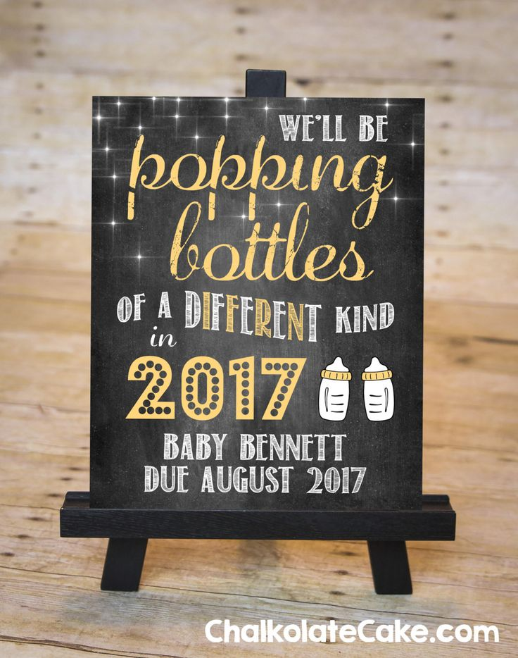 NEW YEARS Pregnancy Announcement Chalkboard Sign by ChalkolateCake