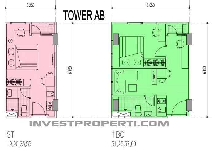 Tower AB Denah unit Studio dan 1 BR apartemen B Residence