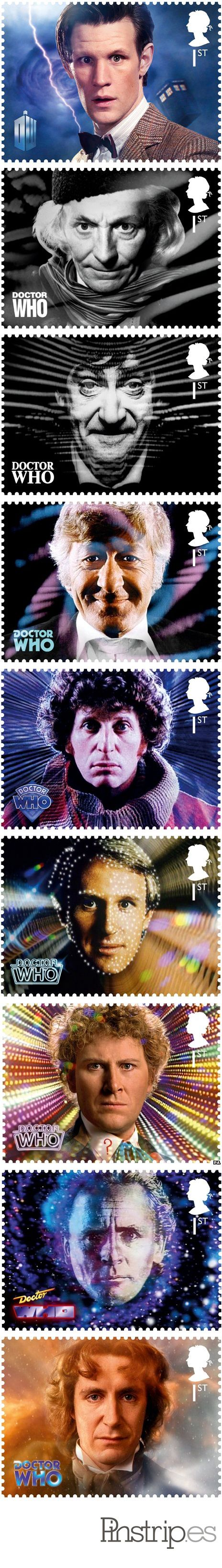 Tom Baker, David Tennant and Patrick Troughton are to feature on a special set of Royal Mail stamps in 2013.    The collection marks the 50th anniversary of sci-fi show Doctor Who, with all 11 Doctors getting their own first class stamp.    Four of the show's most notorious villains, including the Daleks and the Cybermen, star on the second class set.