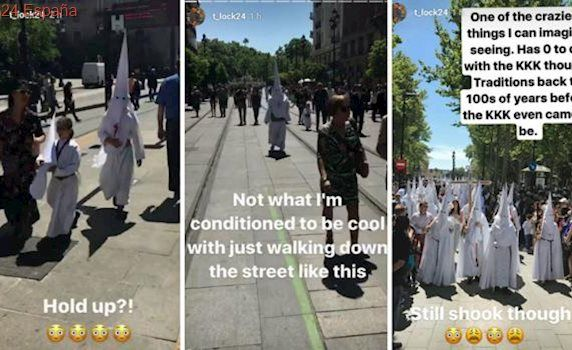 Un jugador del Betis confunde a los nazarenos con el Ku Klux Klan