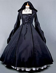 Cosplay+Costumes+Cinderella+Goddess+Santa+Suits+Vampire+Festival/Holiday+Halloween+Costumes+Black+Solid+Color+Lace+Dress+Halloween+–+USD+$+189.98