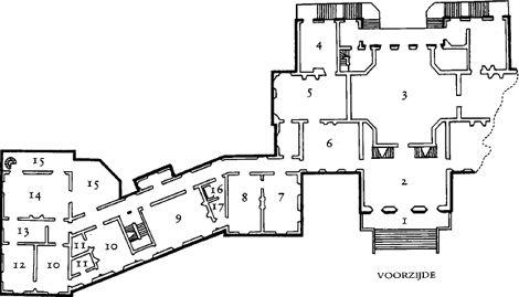 Paleis Huis ten Bosch 1 ingang 2 vestibule 3 Oranjezaal 4 werkkamer koningin Beatrix 5 Groene Salon 6 Blauwe Salon 7 werkkamer 8 vergaderkamer/bibliotheek 9 eetkamer 10 kleedkamer 11 badkamer 12 slaapkamer 13 privé-werkkamer 14 woonkamer 15 balkon 15 balkon 16 lift 17 dienkamer