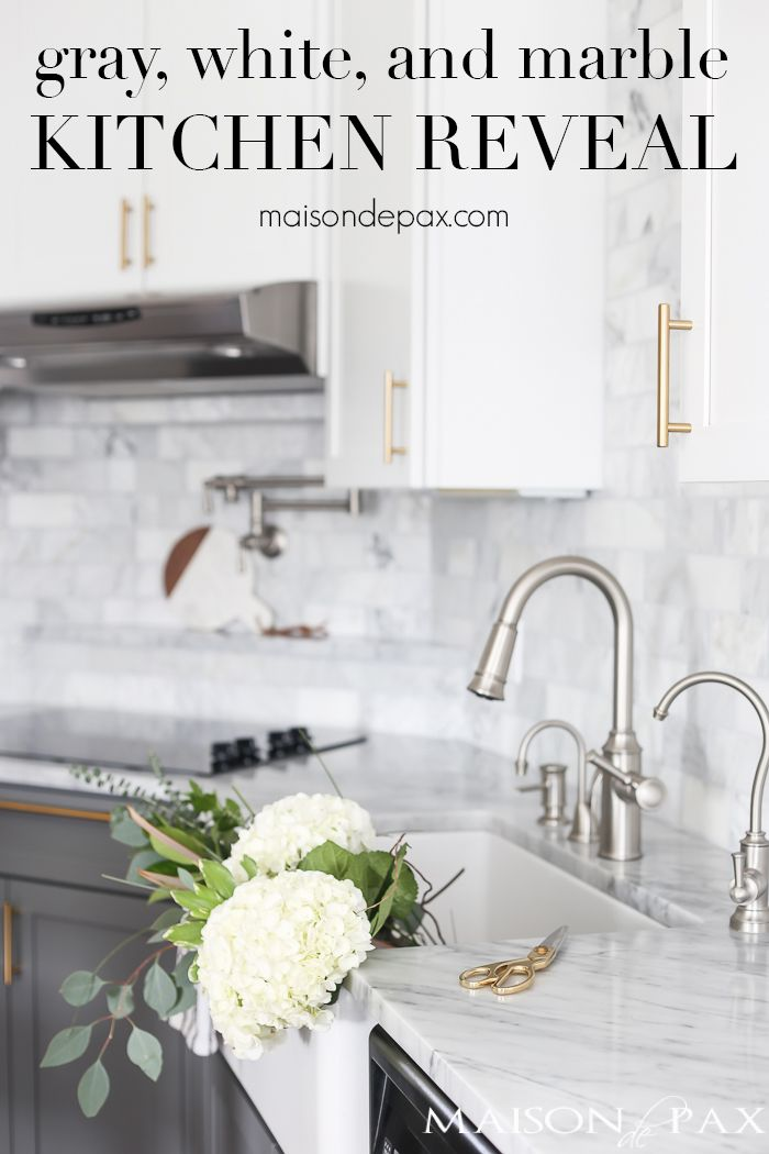 Gray And White And Marble Kitchen Reveal Maison De Pax Kitchen Marble Replacing Kitchen Countertops Gray And White Kitchen
