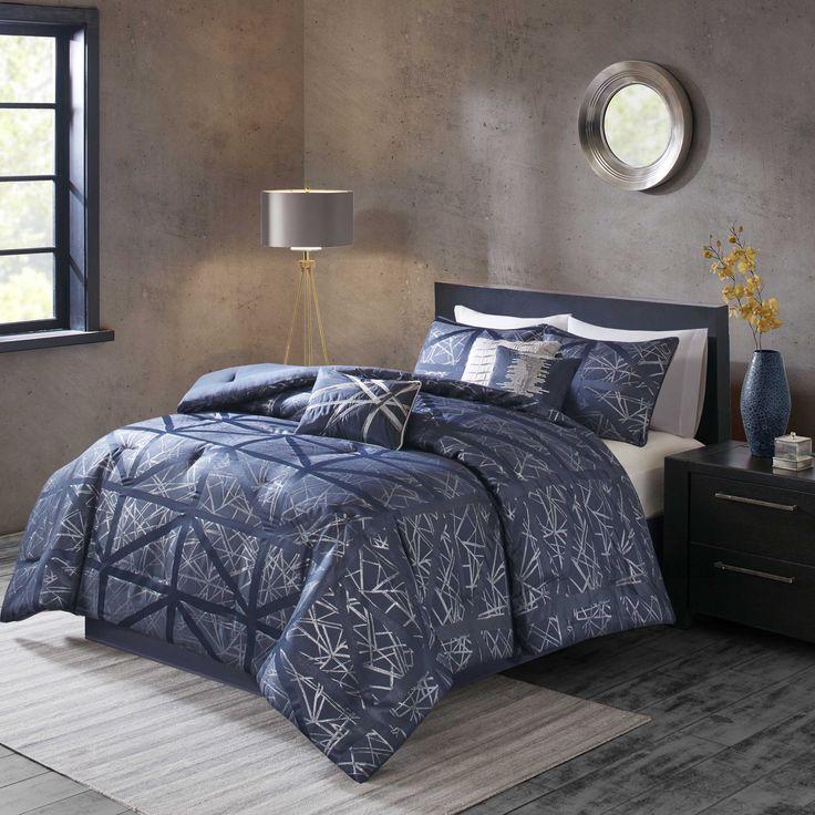 Madison Partk Nico Navy Comforter 7 Piece Set