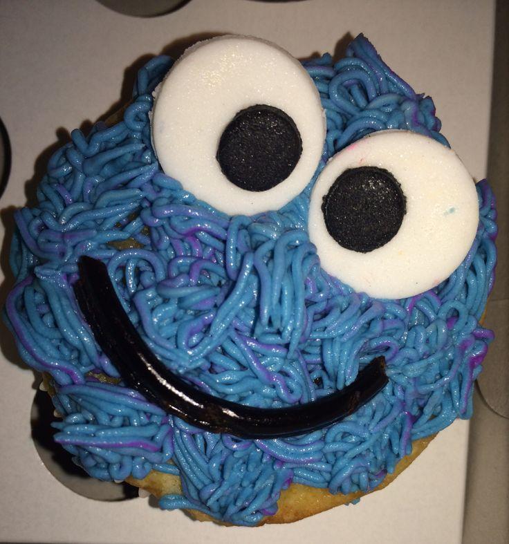 Blue monster cupcake