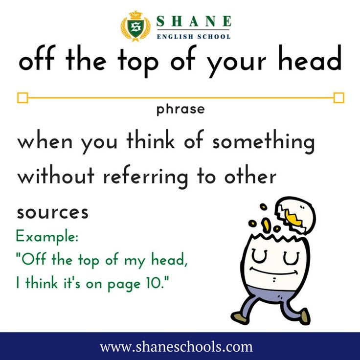 off the top of your head when you think of something without referring to other sources 'Off the top of my head I think it's on page 10.' #ShaneEnglishSchool #ShaneEnglish #ShaneSchools #English #Englishclass #Englishlesson #Englishfun #Englishisfun #language #languagelearning #education #educational #phrase #phrases #phraseoftheday #idiom #idioms