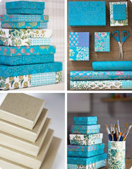 Для того, чтобы обклеить коробку бумагой или тканью, нам понадобится:   любая коробка  ткань или бумага  клей или двухсторонний скотч  нож...