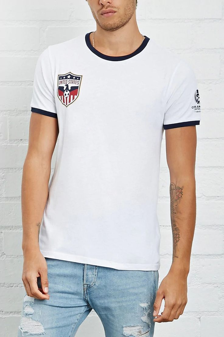 "A knit crew neck soccer tee featuring short sleeves, contrast trim, a Copa America USA logo graphic on the chest and sleeve, and a large ""USA"" graphic on the back. #forever21men"