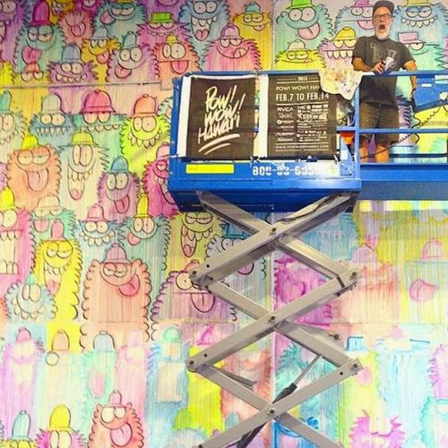 Kevin Lyons working on his wall for @POWWOWHAWAII kevin lyons