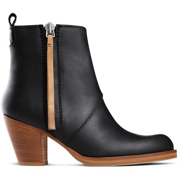 ACNE Pistol Sh Black Contrast (€520) ❤ liked on Polyvore featuring shoes, boots, ankle booties, short boots, black leather ankle booties, chunky black booties, black booties and low ankle boots