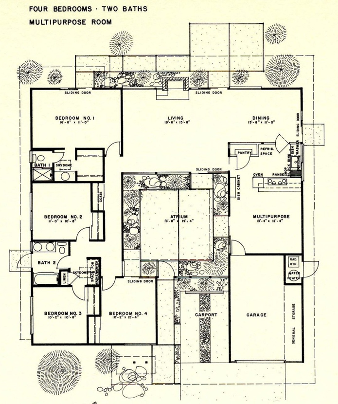 1000 images about eichler floor plans on pinterest for House plans with atrium in center