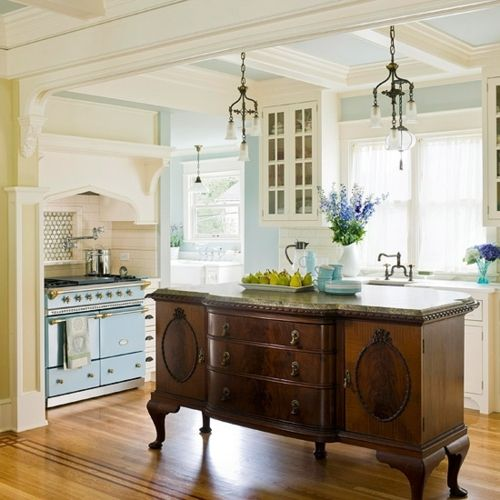 love this!Buffets, Ideas, Dreams Kitchens, Antiques Furniture, Blue Wall, Old Dressers, Kitchens Islands, Stoves, Kitchen Islands