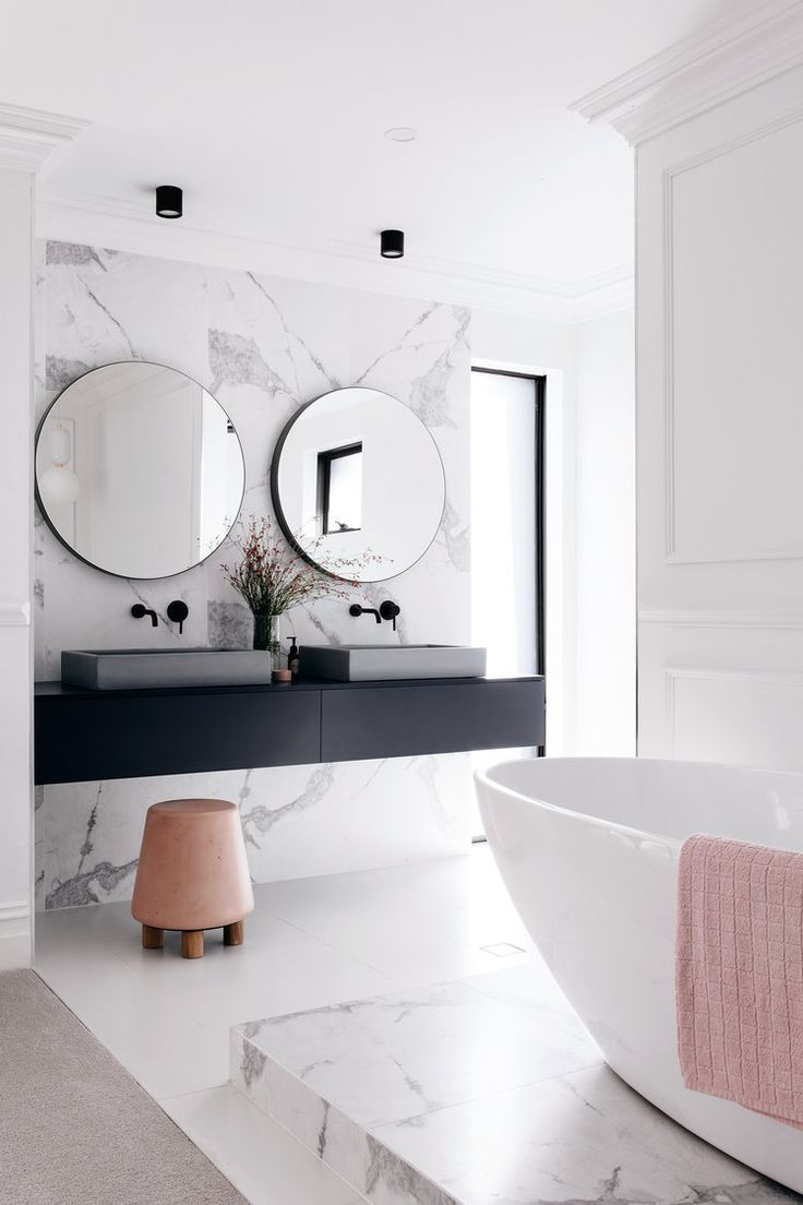 Chic neutral bathroom with pops of pink | Bathrooms | Pinterest ...