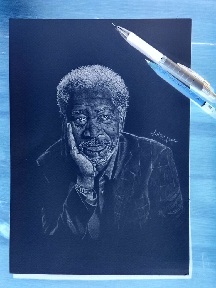 Morgan Freeman - Drawing with micropencil negative after color inversion